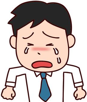 Tear-running office worker