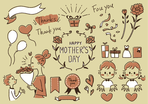 Mother's Day handwritten illustration 3 colors