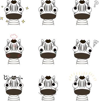 Zebra upper body expression set with big eyes