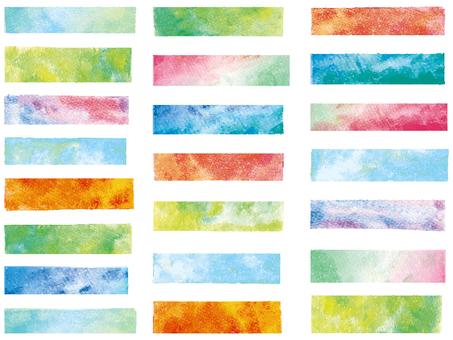 フレーム飾り枠水彩背景付箋手描き和春夏絵