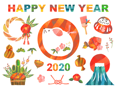 2020 New Year Card Icon Set-Childhood