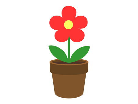 Flower pot flower (red)