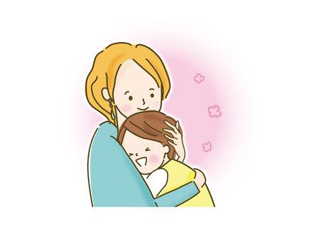 ママと抱き合う男の子