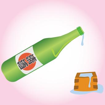 One bottle and sake