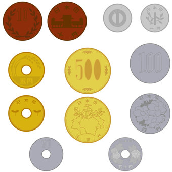 Japanese coin change back and front set