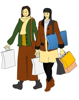 Mother and daughter in shopping
