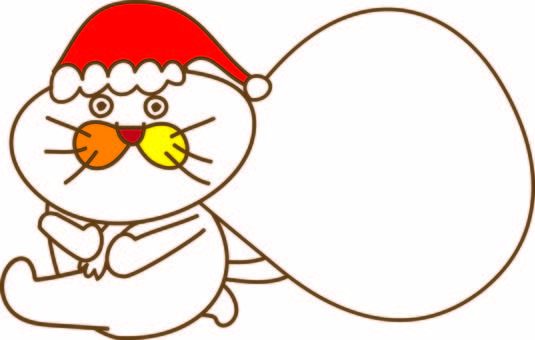 Amusing cat Tachiko and Santa