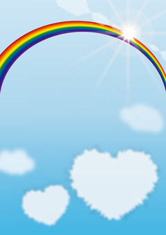 Rainbow and heart clouds (rainbow background illustration)