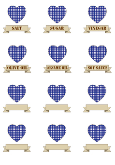 For label seal (heart, check, blue)