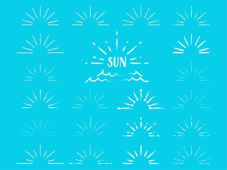 シンプル太陽素材セット(白)