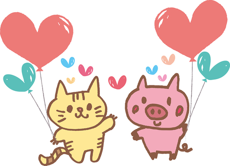 A cat and a pig with a heart balloon
