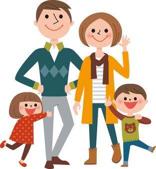 4 người cơ thể gia đình (quần áo mùa thu)