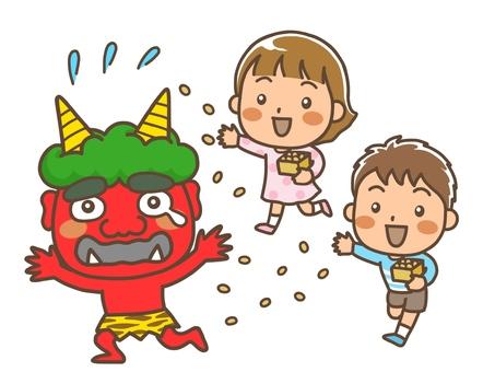 Children doing bean-maki at Setsubun