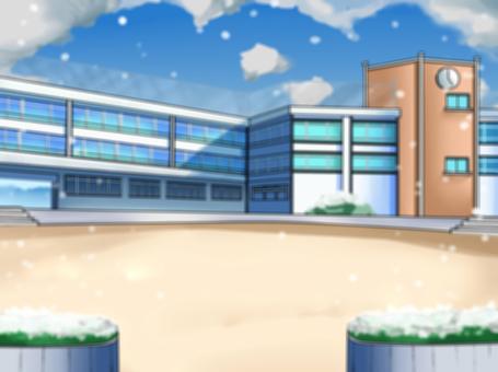 Schoolyard school building Snow blur