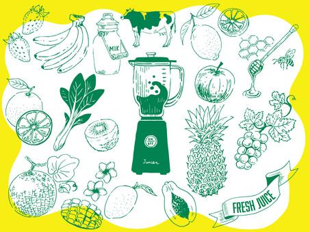 Illustration material set of fresh juice