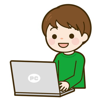Boy playing computer