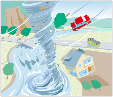 Disaster tornado damage illustration