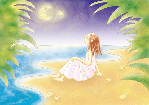 Starry sky and sandy beach