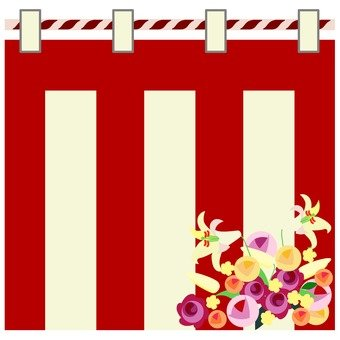 Red and white curtain and flowers