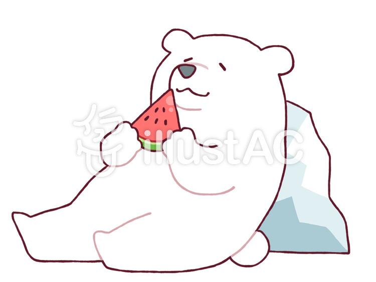 スイカを食べる白熊イラスト No 490427無料イラストならイラストac