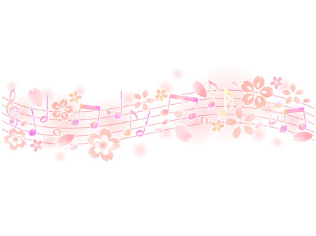 Notes and cherry blossom background 01