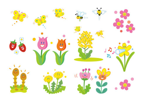Cute illustrations of spring