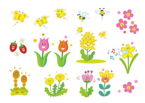 春天的可愛插圖