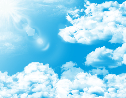 Free Illustrations Free material White clouds Clear blue sky Sunny
