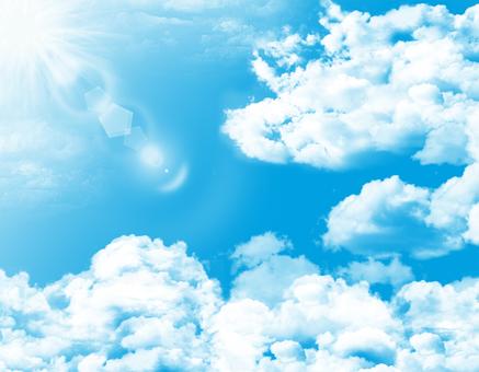 무료 일러스트 무료 소재 흰 구름 맑은 푸른 하늘 맑은