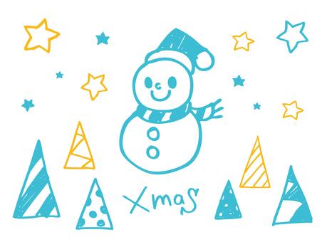 クリスマス素材手描き