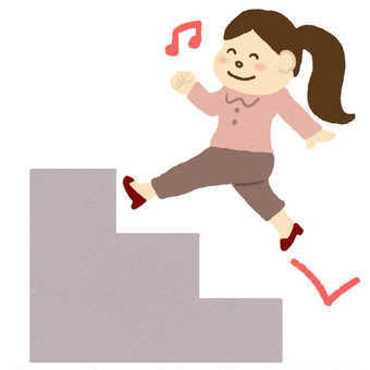 A woman climbing the stairs