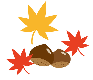 Chestnut and autumn leaves