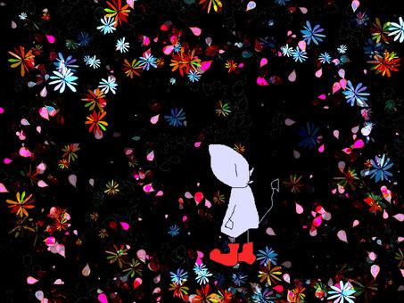 Devi in a flower rain