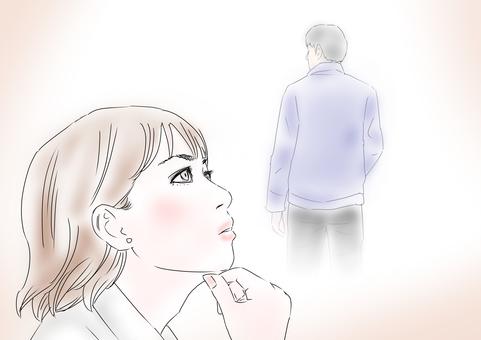 생각 생각하는 여성
