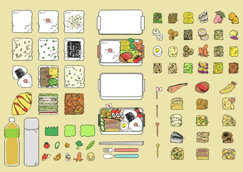 Hand-drawn lunch box illustrations