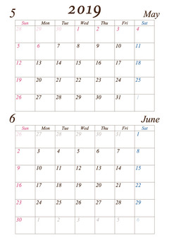 May-June 2019 A4 calendar modified version