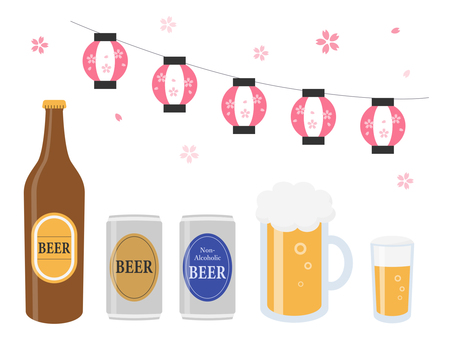 Beer and cherry-blossom viewing illustration set