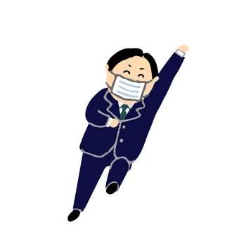 Cheerful suit men in masks 2