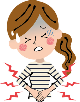 Casual woman stomachache hurts upper body