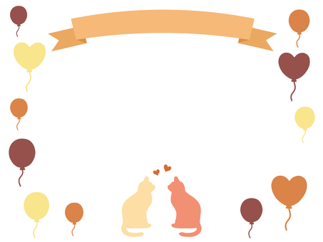 Ribbon and cat frame balloons