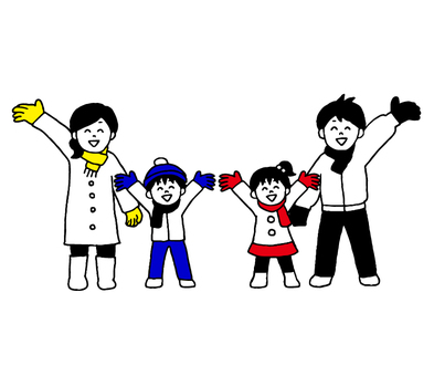 Family (simple) wearing winter gear