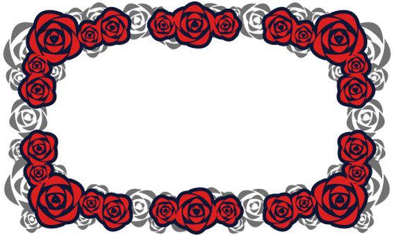 [Background transparent] Rose frame [Red]