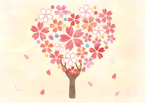 Cherry tree _ Heart tree _ Yellow background 1910