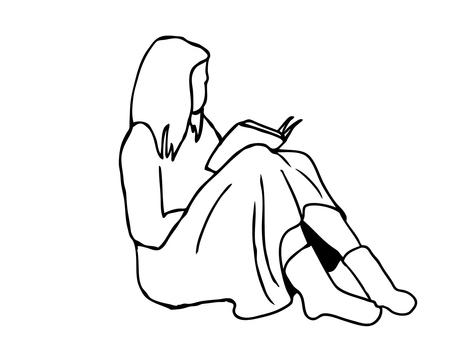 인물 소재 책을 읽는 여자