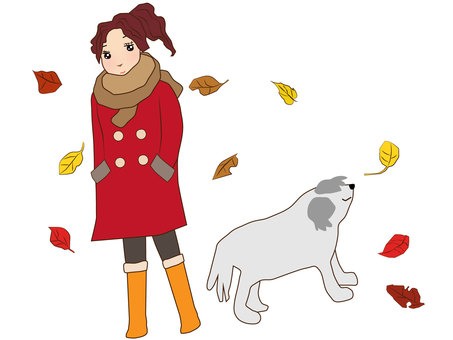 Dogs and fallen leaves and girls