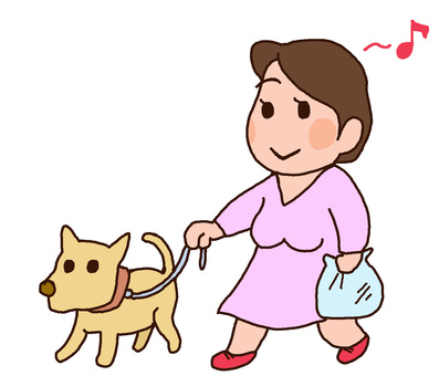 Mother taking a walk of a dog