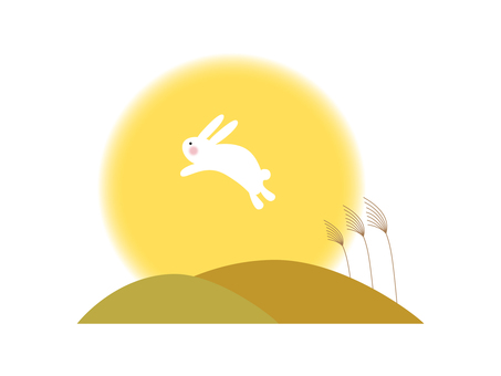 Rabbit moon viewing illustration