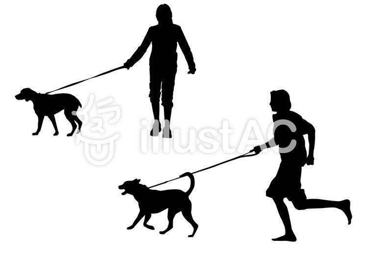 犬の散歩・シルエットのイラスト