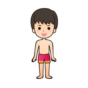 A boy in a bathing suit