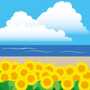 Summer landscape sunflower and sea